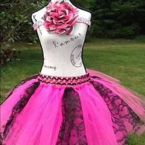 Other - Hot pink and lace tutu skirt